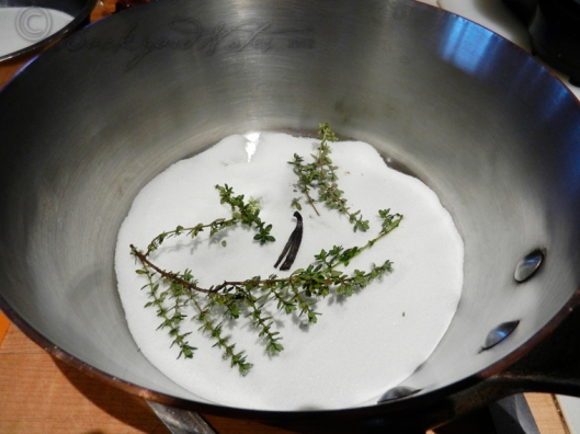 Sugar, thyme sprigs and vanilla bean